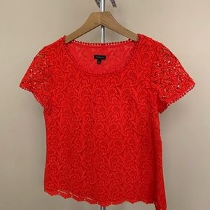Talbots red lace top small